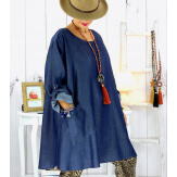 Tunique longue femme grande taille jean lyocell LENOX Tunique femme grande taille