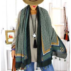 Foulard écharpe pompons vert FOU2610 Foulard femme
