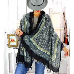 Foulard écharpe pompons noir FOU2610 Foulard femme