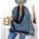 Foulard écharpe pompons bleu FOU2610 Foulard femme