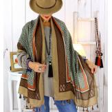 Foulard écharpe pompons camel FOU2610 Foulard femme