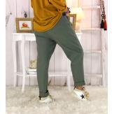 Pantalon femme grande taille stretch kaki FLANDRE Pantalon femme grande taille