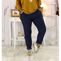 Pantalon femme grande taille stretch bleu marine FLANDRE Pantalon femme grande taille
