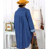 Chemise longue en jean stretch clair JONAS Chemise femme grande taille