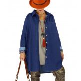 Chemise longue en jean stretch indigo JONAS Chemise femme grande taille