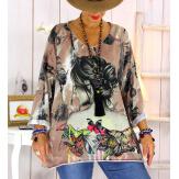 Tunique maille grande taille papillons WILLO Tunique femme grande taille
