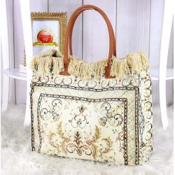 Grand sac cabas cuir tapis fait main beige SOFT Sacs à main