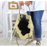 Grand sac cabas cuir tapis fait main kaki SOFT Sacs à main