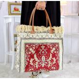 Grand sac cabas cuir tapis fait main bordeaux SOFT Sacs à main