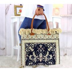 Grand sac cabas cuir tapis fait main bleu SOFT Sacs à main