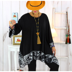Tunique longue grande taille noir VALENTINE 1 Tunique femme grande taille