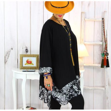 Tunique longue femme grande taille noire VALENTINE 1 Tunique femme grande taille