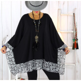 Tunique longue grande taille noir VALENTINE 2 Tunique femme grande taille