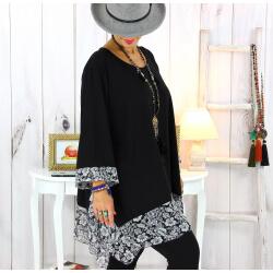 Tunique longue femme grande taille noire VALENTINE 2 Tunique femme grande taille