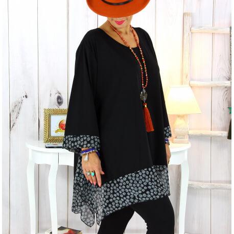 Tunique longue femme grande taille noire VALENTINE 3 Tunique femme grande taille