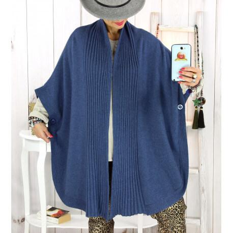 Cape gilet maille grande taille bleu jean AKINA Gilet femme grande taille