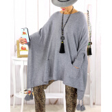 Poncho pull pompons perles gris FOREST Poncho femme grande taille