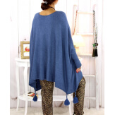 Poncho pull pompons perles jean FOREST Poncho femme grande taille
