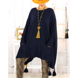 Poncho pull pompons perles marine FOREST Poncho femme grande taille