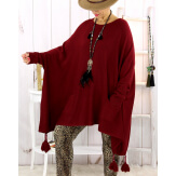 Poncho pull pompons perles bordeaux FOREST Poncho femme grande taille