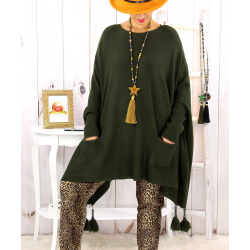 Poncho pull pompons perles kaki FOREST Poncho femme grande taille