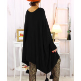 Poncho pull pompons perles noir FOREST Poncho femme grande taille