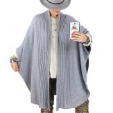 Cape gilet maille grande taille gris AKINA Gilet femme grande taille