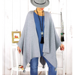 Poncho cape hiver pompons tricot gris LAURENE Poncho femme grande taille