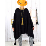Poncho pull pompons perles noir BAYA Poncho grande taille femme
