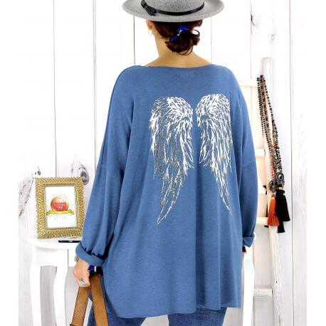 Pull tunique grande taille ailes jean GHANA Pull tunique femme