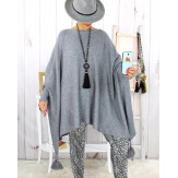 Poncho pull pompons perles gris BAYA Poncho grande taille femme