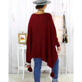 Poncho pull pompons perles bordeaux BAYA Poncho grande taille femme