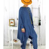 Poncho pull pompons perles bleu jean BAYA Poncho grande taille femme