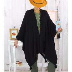 Poncho cape hiver pompons tricot noir LAURENE Poncho femme grande taille