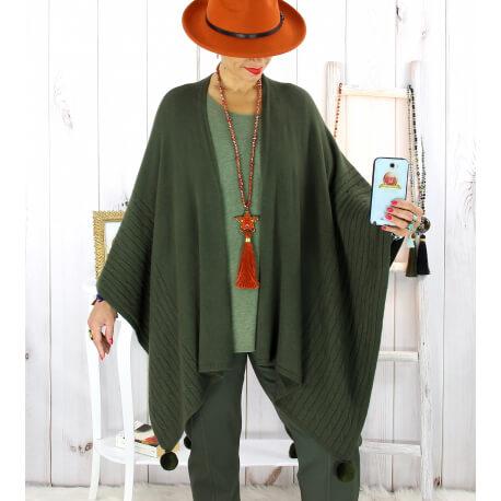 Poncho cape hiver pompons tricot kaki LAURENE Poncho femme grande taille