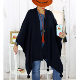 Poncho cape hiver pompons tricot marine LAURENE Poncho femme grande taille