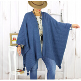 Poncho cape hiver pompons tricot jean LAURENE Poncho femme grande taille