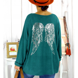 Pull tunique grande taille ailes vert canard GHANA Pull tunique femme