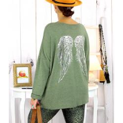 Pull tunique grande taille ailes kaki GHANA Pull tunique femme