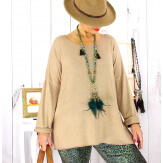 Pull tunique grande taille ailes camel GHANA Pull tunique femme
