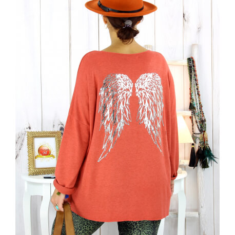 Pull tunique grande taille ailes brique GHANA Pull tunique femme