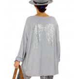 Pull tunique grande taille ailes gris GHANA Pull tunique femme