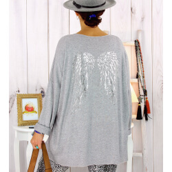 Pull tunique grande taille ailes gris GHANA Pull tunique femme