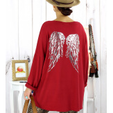 Pull tunique grande taille ailes bordeaux GHANA Pull tunique femme