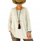 Pull tunique grande taille ailes beige GHANA Pull tunique femme