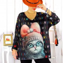 Tunique maille grande taille chat WILLO Tunique femme grande taille