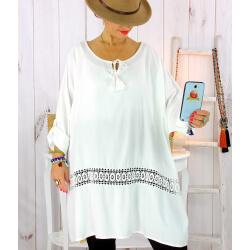Tunique longue dentelle blanc BARNABY Tunique femme grande taille