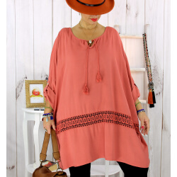 Tunique longue dentelle brique BARNABY Tunique femme grande taille