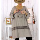 Tunique longue dentelle taupe BARNABY Tunique femme grande taille