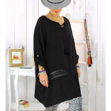 Tunique longue dentelle noire BARNABY Tunique femme grande taille